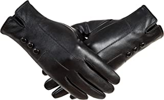 AxyOFsp Touchscreen Leather Gloves Winter Warm Fashion Soft Cacual Black Gloves Womens Leather Gloves