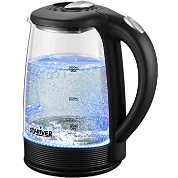Stariver Electric Kettle, Hot Water Kettle 2L, Electric Tea Kettle with LED, Borosilicate Glass Water Warmer with Auto Shut-Off and Boil-Dry Protection, Stainless Steel Inner Lid and Bottom, Black