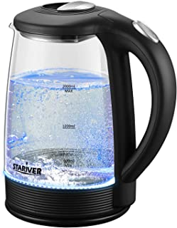 Stariver Electric Kettle Glass Tea Kettle Heater, 2 Liter Large Capacity with LED Light, Auto Shut-Off and Boil-Dry Protection, Stainless Steel Inner Lid and Bottom, Black