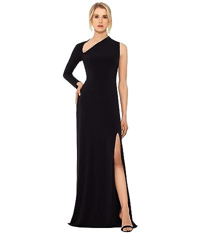 Betsy & Adam Long Jersey Asymmetrical Sleeve Gown