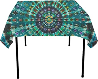 YongColer Square Tablecloth, Wrinkle Free Spill-Proof Table Cloth for Square or Round Tables, Great for Outdoor and Indoor Table Decoration (52x52 Inch, Spiral Tie Dye Mandala Green)