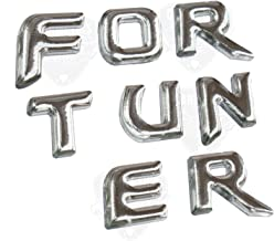 CarMetics FORTUNER 3D Letters (3D Stickers 3D Logo 3D Emblem for Toyota Fortuner Accessories) – Chrome Finish - Type 1-1 S...