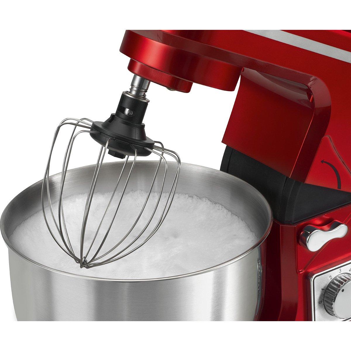 Bomann KM 1393 CB - Batidora amasadora repostería Capacidad de 5 litros, 7 velocidades, 1000 W Color roja + báscula Cocina: Amazon.es: Hogar