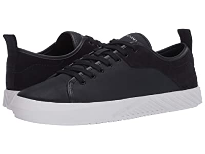 Emporio Armani Mixed Media Textured Sole Sneaker (Black) Men