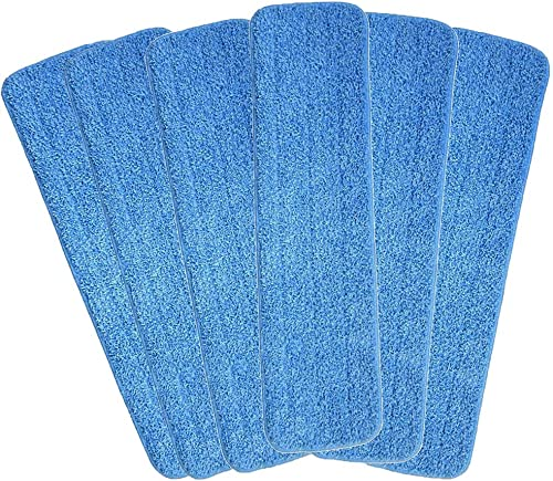 Mop Heads Replacements, 6 Pack 18''x 6'' Reusable Microfiber Spray Mop Replacement Heads, Compatible with Bona Floor ...