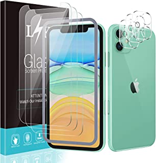 [3+3 Pack] LϟK for 3 Pack iPhone 11 Screen Protector with 3 Pack Camera Lens Protector, 6.1 inch [Tempered Glass] [Easy In...