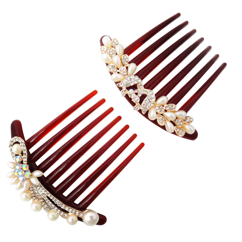 Honbay 2PCS service 7 Teeth Hair Side Pearl Combs Crystal Flo Rhinestone Dealing full price reduction
