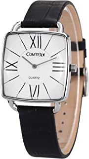 Comtex Men's Watches Square Big Number Easy to Read White Dial with Black Leather Simple Watch for Men