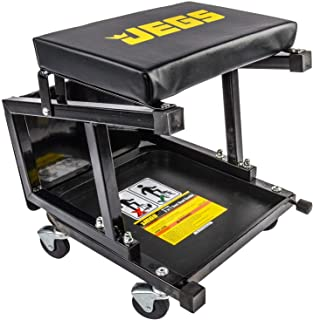 Best JEGS Mechanic Seat and Step Stool | 300 LBS Capacity | Padded Seat | Black with JEGS Logo | Heavy-Duty Construction | Comfortable and Ergonomic Design | Smooth-Rolling Casters Review