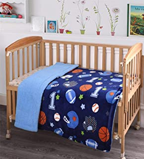 MB Collection Kids Soft & Warm Sherpa Baby Toddler Boy Sherpa Blanket Navy Blue Sports Basketball Soccer Baseball Football Multicolor Printed Stroller or Toddler Bed Blanket Plush Throw 40X50# Sport