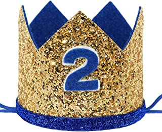 Maticr Shiny 2nd 3rd Birthday Crown Baby Boy Prince Headband Party Supplies
