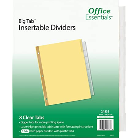 Buff 24832 Office Essentials Big Tab Insert 8T Multicolor Tab 6 Pack