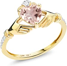 Gem Stone King 0.76 Ct Irish Celtic Claddagh Rose Rose Quartz Diamond Accent 10K Yellow Gold Ring