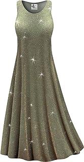 6f0e0e4b90b2a Olive Glitter Slinky Print Plus Size Sleeveless A-Line Maxi Dress