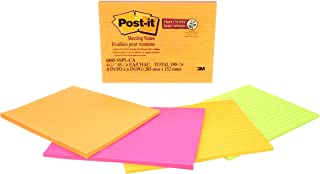 Post-it Super Sticky Notes, 2x Sticking Power, 8 in x 6 in, Rio de Janeiro Collection, Lined, 4 Pads/Pack, 45 Sheets/Pad (6845-SSPL)