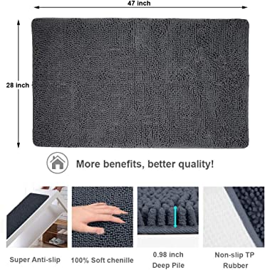 Secura Housewares Soft Microfiber Bathroom Rugs, 47 x 28 Inches Non Slip Bath Mat for Door, Bathroom & Bedroom with Water Absorbent, Machine Washable (Dark Gray)