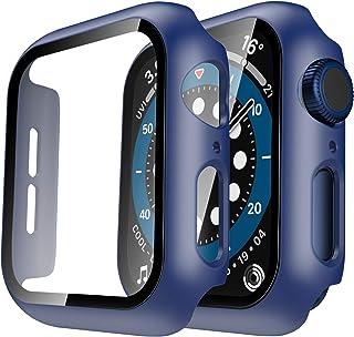 TAURI 2Pack Funda para Apple Watch 44mm Serie 6 5 4 SE Estuche Rígido Delgado para PC Protector de Pantalla de Vidrio Temp...