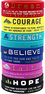 (12-Pack) Inspirational Quote Bracelets, Variety Pack - Dream Courage Strength Believe Faith Hope - Wholesale Pack of 1 Dozen Silicone Rubber Wristbands in Bulk - Party Favors Gifts for Teens Adults