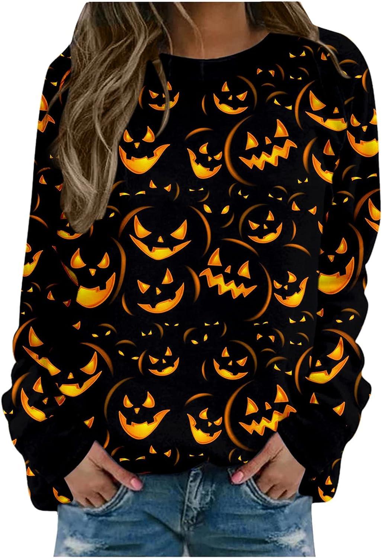 Kaitobe Womens Sweatshirts Long Sleeve Halloween Funny Pumpkin Print Round Neck Novelty Shirts Loose Basic Tunic Blouse