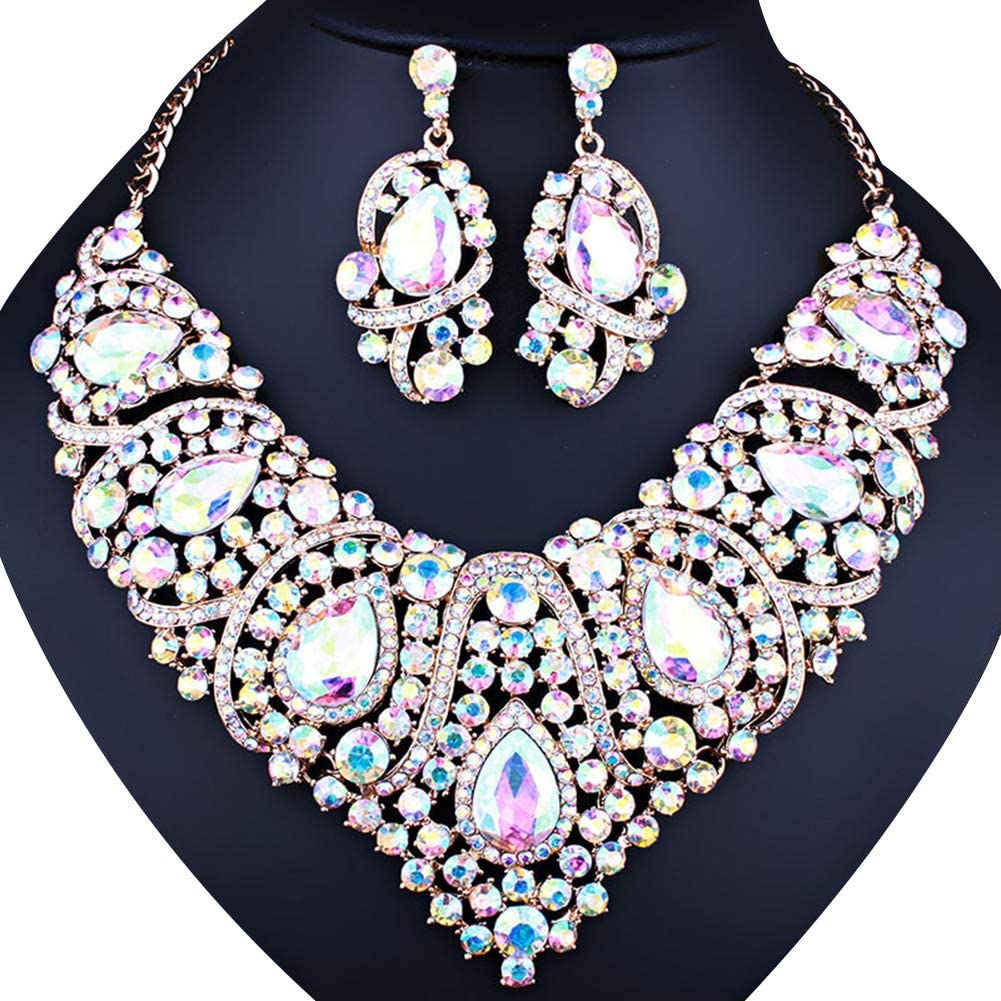 Luxury Women's Jewelry Set,Luxury Rhinestone Inlaid Bib Necklace Stud Earrings Wedding Jewelry Set - Green
