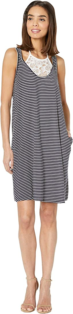 Stripe Jersey Sleeveless Dress with Lace Detail
