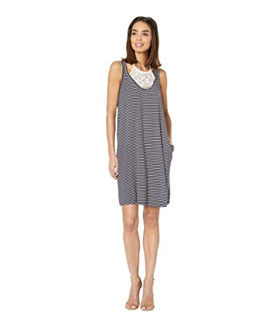 Tribal Stripe Jersey Sleeveless Dress with Lace Detail (Nautical) Women
