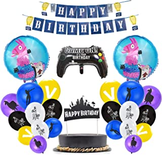 Video Game Party Supplies, Gamer Party Supplies, Foil/Latex Balloons Birthday Banner Cake Topper for Kids Birthday Party Decorations (78PCS)