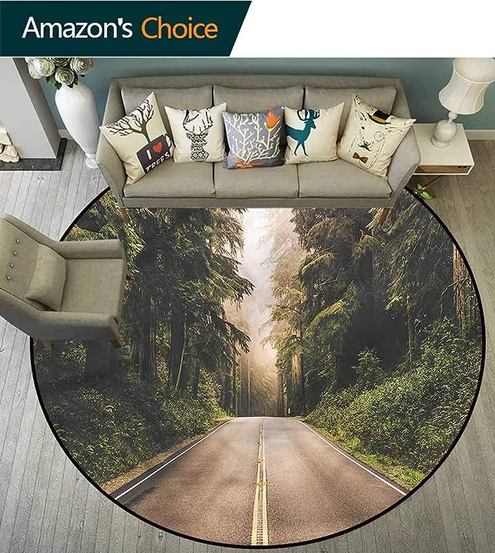 Adventure Print Area Rug California USA Roads Non Slip Living Room Soft Floor Mat Diameter 35