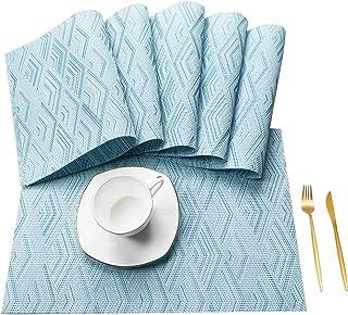 YISK Placemats PVC Wave Washable Non-Slip Table Mats 6pc Placemats for Dining kitchen Restaurant 45x30cm(Color: Blue)