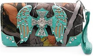 La Dearchuu Cross Wing Studded Purse Western Wristlet Wallet Pretty Clutch Bags for Women