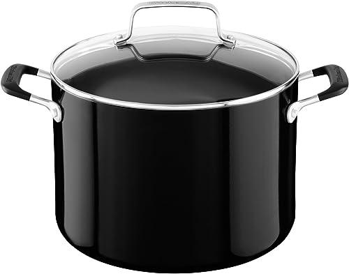 wholesale KitchenAid outlet online sale popular Aluminum Nonstick 8.0 quart Stockpot with Lid - Onyx Black, Medium outlet online sale