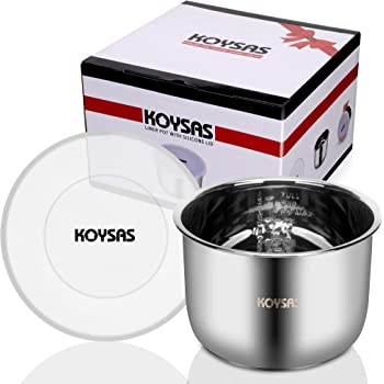KOYSAS Inner Pot Liner Compatible with Instant Pot 6 Quart - Kitchen Safe and Durable Stainless Steel - BPA Free Silicone Leak and Spill Resistant Lid - Gift Quality Packaging