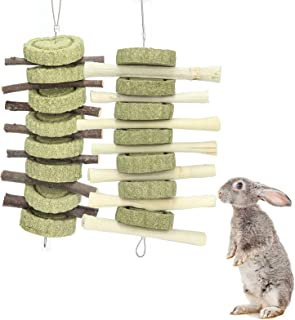 Rabbit Toys,Bunny Chew Toys for Teeth Grinding, Natural Apple Chewing Sticks with Grass Balls Improve Pets Dental Health f...