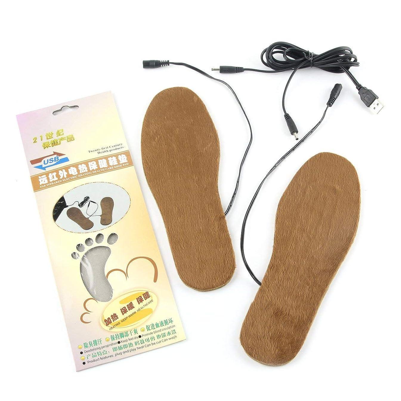 小川ウッズ偽造Saikogoods 1ペア切断可能冬のブーツインソールUSB温水フットウォーマーソフトシューズパッドクッション快適な靴のアクセサリー 淡い茶色 男性用