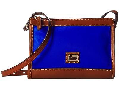 Dooney & Bourke Camden Zip Crossbody (French Blue/Dark Chocolate Trim) Cross Body Handbags