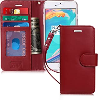 FYY Case for iPhone 8 Plus/iPhone 7 Plus,[Kickstand Feature] Luxury Genuine Leather Wallet Case Flip Folio Cover with[Card Slots][Wrist Strap] for Apple iPhone 8 Plus 2017/7 Plus 2016 (5.5
