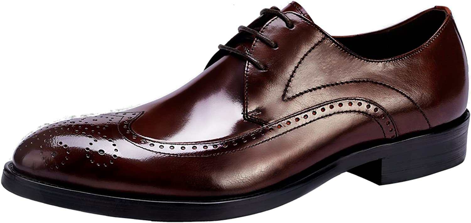 Santimon Mens shoes Casual Comfort Dress Classic Lace Up Perforated Brogue Leather shoes