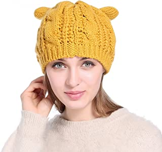 Winter Beanie Hat Lovely Cat Ear Beanie for Girls Women Ear Flap Ski Hat