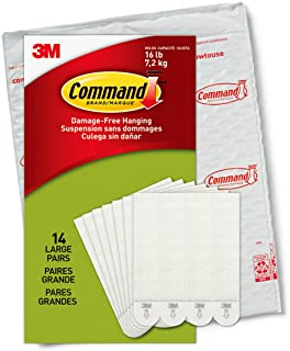 Command PH206-14NA Heavy Duty, Holds 16 lbs Picture Hanging Strips, 14 Pairs, White, 28 Count
