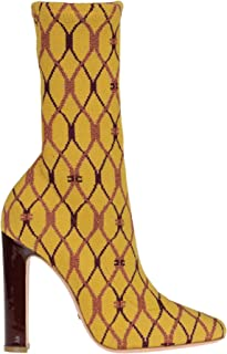 ELISABETTA FRANCHI Women's MCGLCAS000006081I Yellow Fabric Ankle Boots
