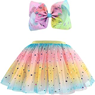 Girls Layered Tulle Rainbow Tutu Skirts with Colorful Hairbow or Butterfly Headband, Girls Dressing Up,Dancing Party Tutu