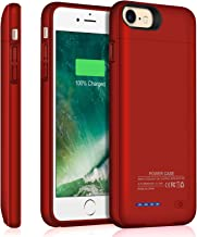 iPhone 6/6s/7/8 Battery Case, TAYUZH 3000mAh Ultra-Slim Portable Protective Charging Case Compatible for iPhone 6s/7/8(4.7 Inch) Magnetic Battery Case Rechargeable Extended Charger Case- Red