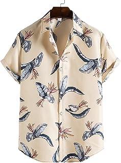 Camisa De Hombre con Estampado De Tira Larga De Verano Tops Camisas Casuales De Manga Corta Cuello Alto Camisas Delgadas F...
