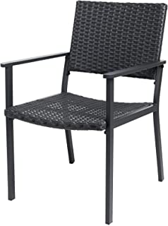 C-Hopetree Patio Chair for All Weather Outdoor Dining with Hand Woven Black Wicker and Frame