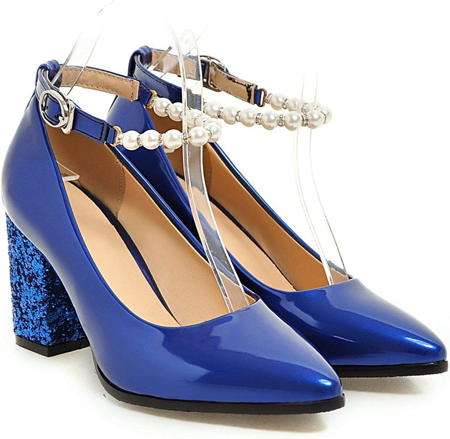FINDYOU Ladies Pumps Pointed String Bead Buckle Strap Square High Heels for Wedding Party shoes