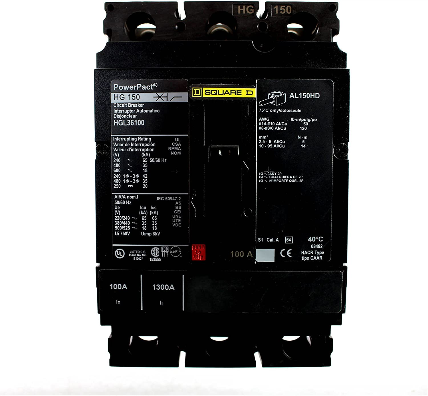 SCHNEIDER ELECTRIC 600-VOLT 100-AMP Molded Lowest price challenge Tampa Mall CASE HGL36100 Circuit