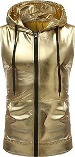 Mens Hipster Metallic Zip Up Sleeveless Hooded Vest T Shirt with Kangaroo Pocket