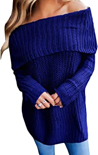 Geckatte Womens Off The Shoulder Sweaters Loose Knit Jumper Long Sleeve Pullover Sweater Tops