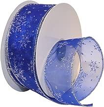 Morex Ribbon Snowflake Wired Sheer Glitter Ribbon, 2-1/2-Inch by 50-Yard Spool, Royal/Silver