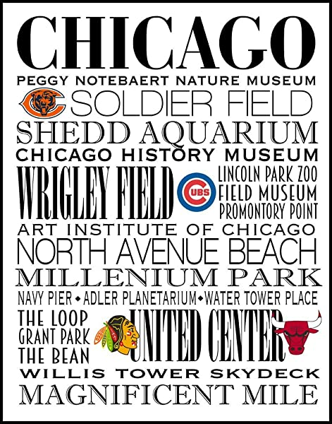 Chicago Subway Art Print Centered The City S Sports Teams 11 X 14